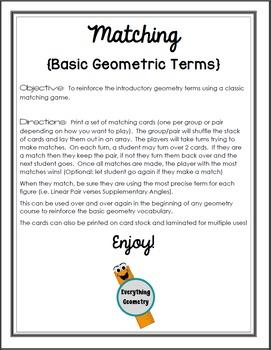 Basic Geometric Terms Matching Game