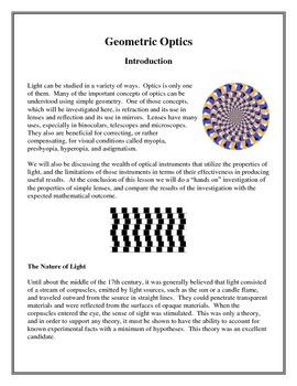 Basic Geometrical Optics - Investigate the Properties of Light