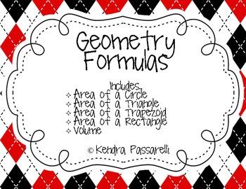 Basic Geometry Formulas (Classroom Posters)