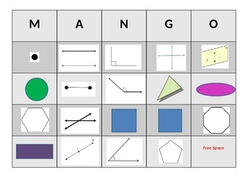 Basic Geometry MANGO (Math BINGO)