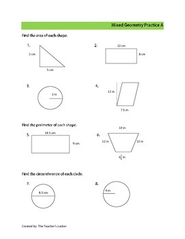 Basic Geometry Practice CCSS 6.G.A1