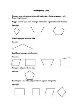 Basic Geometry Study Guide