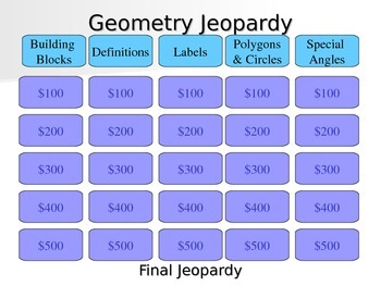 Basic Geometry Terms Jeopardy