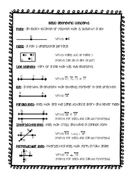 Basic Geometry Terms Journal Resources and Worksheets by ...