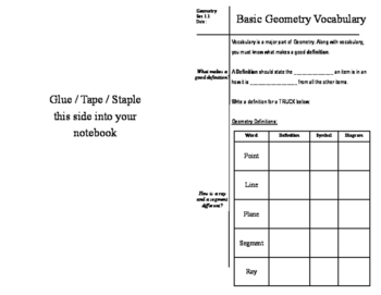 Cornell Notes - Basic Geometry Vocabulary