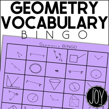 Basic Geometry Vocabulary BINGO - Lines, Circles, and 3D Shapes