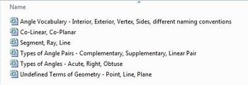 Basic Geometry Vocabulary Foldables