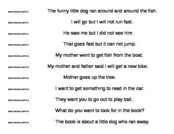 Basic Grade 1 Sight Vocabulary Sentences