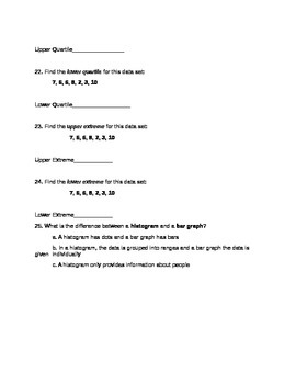 Basic Graphing Assessment