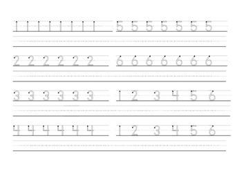 Basic Handwriting Practice Worksheet 1-6  - Zaner Bloser