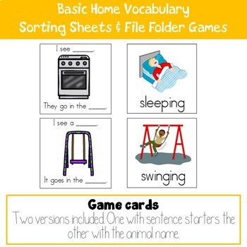 Basic Home Vocabulary Sorting Sheets and File Folder Game