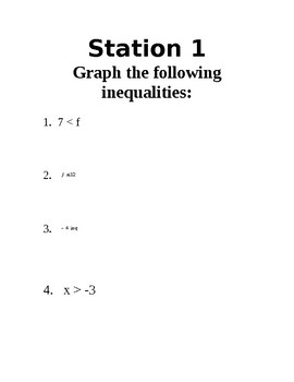 Basic Inequality Stations (Writing & Graphing)