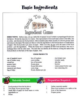 Basic Ingredients Game / Activity