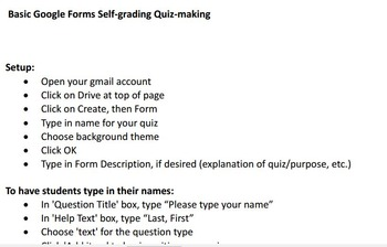 Basic Instructions for Google Forms Self-graded Quiz