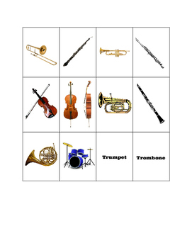 Basic Instrument Matching/Memory Game!