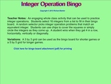 Basic Integer Operations Bingo for the Smartboard