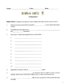 Basic Items Required On A Food Label Lesson