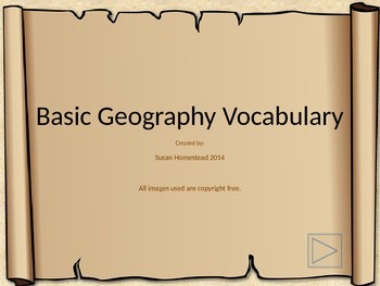 Basic Landform Terms / Vocabulary Powerpoint Presentation with Quiz