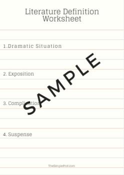 Basic Literature Definitions Worksheet