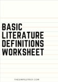 Basic Literature Definitions Worksheet