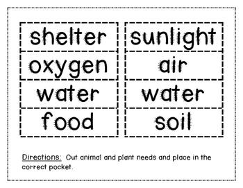 basic living needs of plants and animals pocket sort tpt. Black Bedroom Furniture Sets. Home Design Ideas