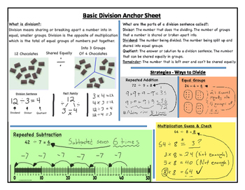 Basic & Long Division Student Anchor - Printable