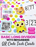 Basic Long Division With Remainders Task Cards with QR Codes (Spanish, too)