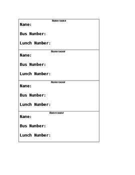 Basic Lunch and Bus Tags