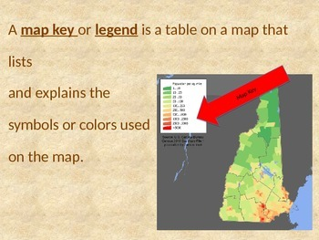 Basic Map Terms / Vocabulary Powerpoint Presentation with Quiz