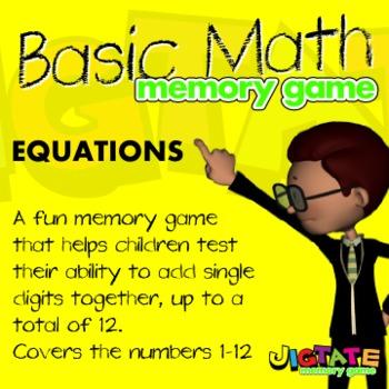 Basic Math - Adding Single Digits Memory Game