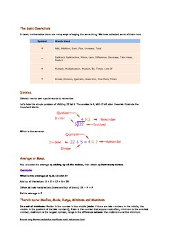 Basic Math Definition Prinable