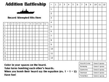 Basic Math Fact Battleship (Addition, Subtraction, Multiplication)