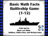 Basic Math Fact Battleship (Addition, Subtraction, Multipl
