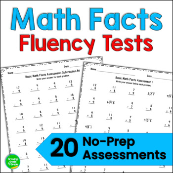 Basic Math Facts Assessments: 20 All Operations and Mixed