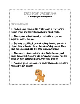Basic Math Facts Center Game Roll for Puppies!