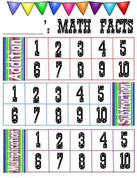 Basic Math Facts Circus Carnival Theme Incentive Chart