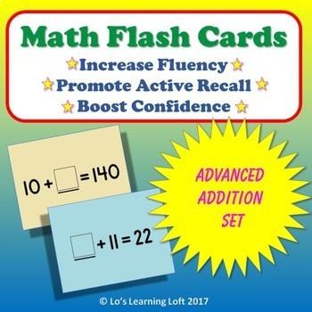 Basic Math Flash Cards - Advanced Addition Set