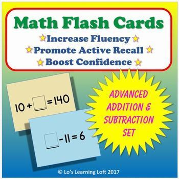 Basic Math Flash Cards - Advanced Addition and Subtraction Set