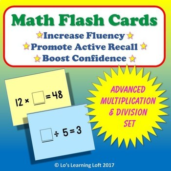 Basic Math Flash Cards - Advanced Multiplication and Division Set