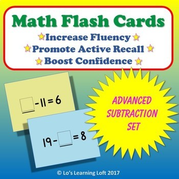 Basic Math Flash Cards - Advanced Subtraction Set