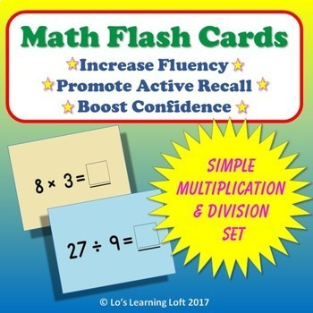 Basic Math Flash Cards - Simple Multiplication and Division Set