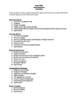 Basic Math: Geometry Unit Objectives & Keywords