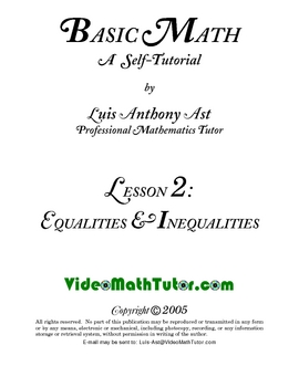Basic Math: Lesson 2 - Equalities & Inequalities