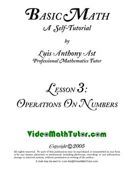 Basic Math: Lesson 3 - Operations on Numbers
