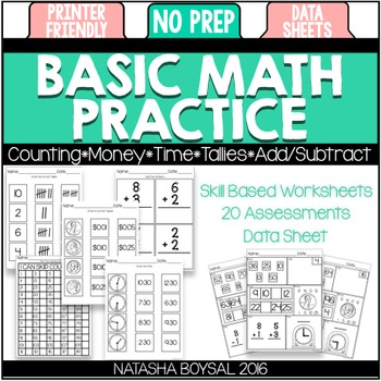 image about Basic Math Skills Assessment Printable identified as Very simple Math Educate (No Prep Worksheets and Reviews)