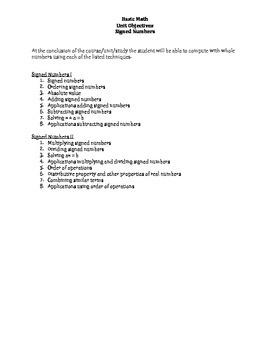 Basic Math: Signed Numbers Unit Objectives & Keywords
