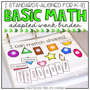 Basic Math Skills Adapted Work Binder ( for Special Needs )