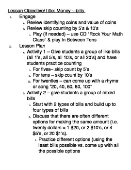 Basic Math Skills - Money - bills
