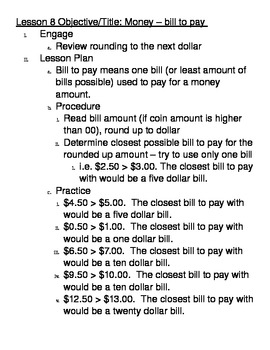 Basic Math Skills - Money - determining the Bill to pay
