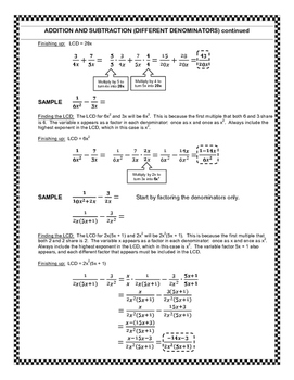 Basic Math Skills Review #2:  Algebraic Fractions
